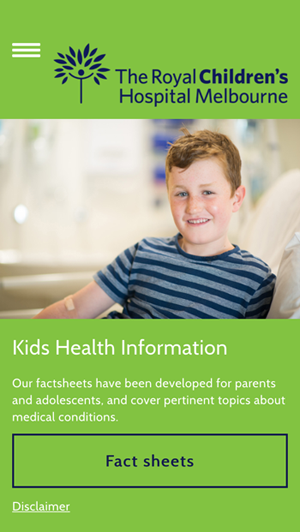 Kids Health Info mobile app